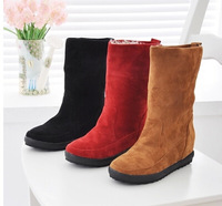 New women shoes  winter Low-heeled boots  Heavy-bottomed snow boots female increased warm boots