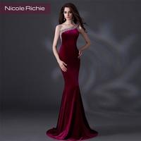2014 fashion slim Wine red evening dress performance formal dress bride evening dress female long design