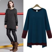 2014 New Hot Sale Women Fashion Autumn Warm High Quality Patchwork Irregular Hem Pullover Sweater Knitwear women clothing