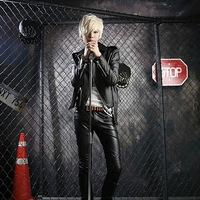 Free shipping! Slim Men's latest velvet leather crocodile pattern leather jacket casual personality