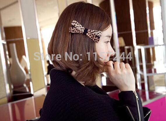 2014 novo design estilo coreano bowknot leopard grão é arte pano clip pato clip grampo cocar pinça lateral para decoração do cabelo(China (Mainland))