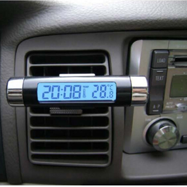 Hot New Automotive Electronic Mini LED Glow Display Clip-on Car Thermometer Clock Free Shipping(China (Mainland))