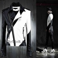 Free shipping! Slim newest nightclub hairstylist costumes fashion personality spell color leather jacket