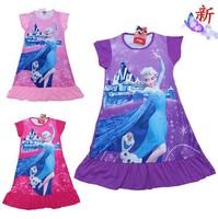 New 2014 Frozen Nightgowns Short Sleeve Elsa Print Frozen Pajamas Dress Sleepwear Girls Clothes Red/Purple Free Shipping