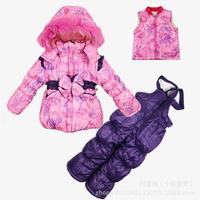 2014 New Children's Winter Clothing Set baby girl Ski Suit Windproof print bow Warm Fur Jackets+Bib Pants+Wool Vest sports suit