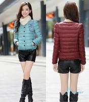 New 2014 Round-collar Bowknot Good Quality Gentle Black  Short Style Fashion Slim Winter Warm Women's Jacket Outwear Coat