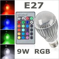 [ E27 RGB LED Lamp ] 9W AC100-240V led Bulb Lamp with Remote Control multiple colour led lighting free shipping