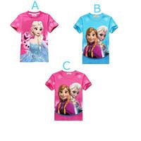 2014 Big Promotions Cartoon Style Baby Girl T-shirt  O-neck Short Regular Sleeve 1 Pcs  Kid Clothing Top