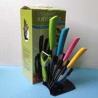 Best New Hot Ceramic knife, 6pcs Set 3 inch + 4 inch + 5 inch + 6 inch + peeler + knife holder Ceramic Knife Sets Kitchen Knife