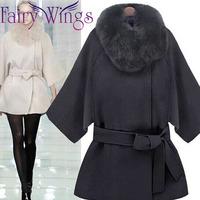 Winter Coat Women Luxury Faux Fur Collar Woolen Coat 2014 Waist Belt Loose Long Jackets Blends Fashion Slim Plus Size PH2211