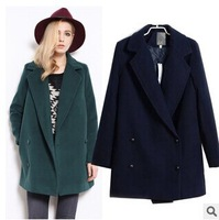 Women Wool Blend Double-Breasted Coat Autumn Spring Medium-long European retro Slim Jacket Casacos Inverno 2014 Free Shipping