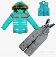 2014 New Children's Winter Clothing Set baby boy Ski Suit Windproof Striped contrast color Warm Fur Jackets+Bib Pants+Wool Vest