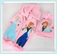 2014 new design Frozen Scarf Hat 10sets /kids Snow Queen Elsa Anna girl scarves Winter warm cap/princess scarf gift for child