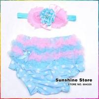 Cotton Ruffled Panties Baby Girls Bow Headbands Set,Dots Diaper Cover,Ruffle Girls Bloomers,Baby Girl Headband,#3T0010 3 Set/lot