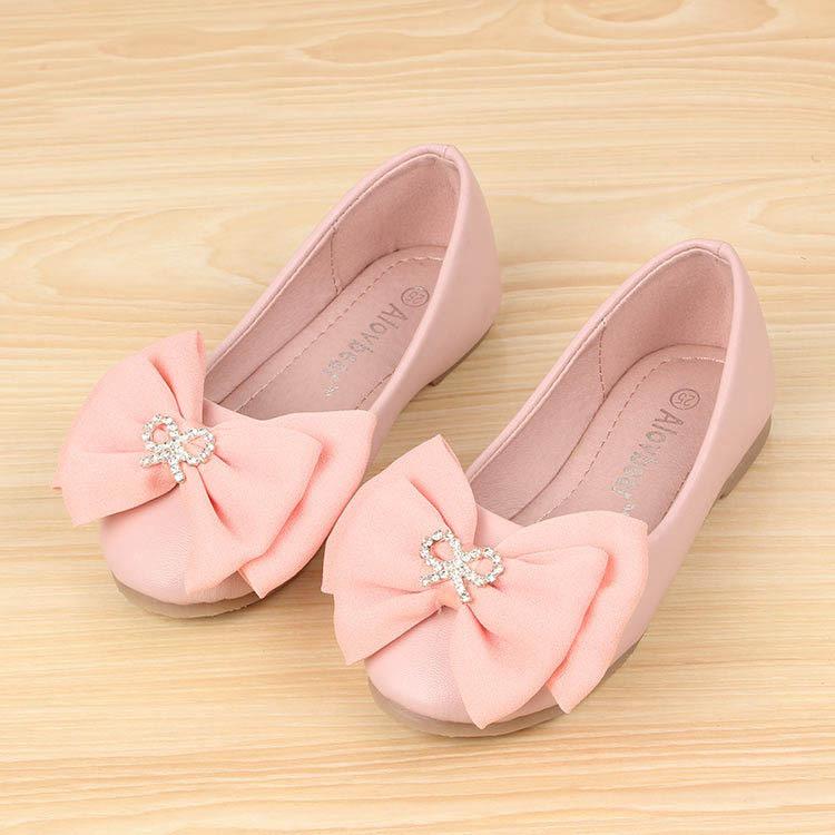 2014 Spring And Autumn Shoes Girls Fashion Sweet Bow Princess Shoes Dress Shoes Little Girls Shoes 3 Colors Size 24-34(China (Mainland))
