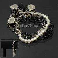 Fashionable Multi-layered Bracelet Jewelry Chain with Rhinestones & Beads Decoration