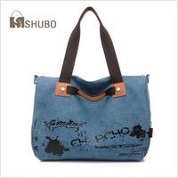 SHUBO 2014 Canvas Fashion Bags Women Portable Bag Canvas Shoulder Messenger Handbag Totes 3 Color Bolsas Femininas SH052