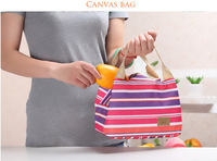 Fashion mix stripe canvas isothermic bag hand held isulated cooler bag baby bottle food warmer bag for traveling picnic storage