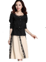 Free Shipping Fall and Winter New Women long sleeve crop tops and Long Skirts Sets, 2cps Lace Skirt suits Big size XL-4XL