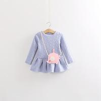 2014 autumn new cartoon cute little elephant satchel girls dresses