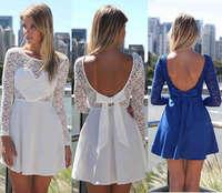 2014 Fashion Heard Shape Lace Hollow Out Casual Dress Women Vestidos Plus Size Open Back Dress XXL clothing Free Shipping