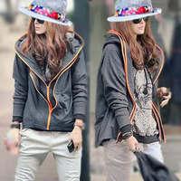2014 Fashion Double Zipper novelty cardigans European hoodies sweater coat casual sweatshirt moleton feminino free shipping