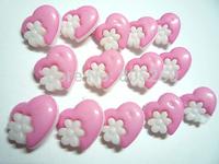 500 PC Beautiful 15MM heart Flower Pink Plastic Button