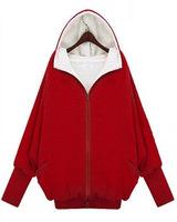 Free Shipping VM European Style Winter Lambs Wool Fat MM Thick Hooded Jacket Large Size Women Bat Sleeve Zipper Coat