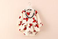 2014 children's autumn new fashion cute girls print dress
