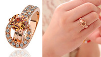 2014 New Luxury Rose Gold Rings Fashion Classic Korea Ring For Women 18K Gold Plated crystal wedding ring For Gift Women Jewelry