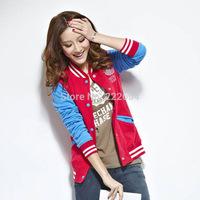 New 2014 Fashion Classic Women Slim College Varsity Baseball Jacket Feminine Brand Sweatshirt Stand Collar Casual Sports Tops