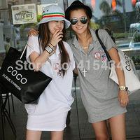 Korean Large Size Sports Skirt Package Hip Skirt Loose Baseball Lapel Short-Sleeved T-shirt Dress Wholesale Casual Dresses