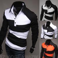 New Fashion Men's Slim Fit Casual Polo Shirt T-Shirt Long Sleeve L/M/S/XS