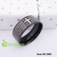 Men Stainless Steel Silver Black Bible Ring Item ID:2001+2003 1 pcs