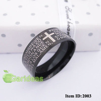 Men Stainless Steel Silver Black Bible Ring Item ID:2001+2003 1 pcs