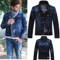 2014 New casual Fashion Men's denim jacket high quality comfortable male cowboy jacket plus size M-XXXL motorcycle sport coats