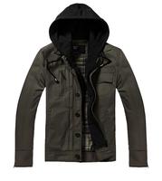 2014 Men Hooded Jacket Detachable Hooded Coat Jacket For Men 3 Colors Plus Size MWJ014