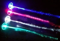 "12-pack Light-up Fiber Optic Led Hair Lights (14"" Strands)  Multi - Color Flashing Rainbow Barette - Rave Party Hair Accessories"