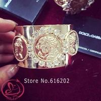 2014 New Gold Bracelet Brand Metal Rome Figure Bracelets & Bangles Luxury Rhinestone Bracelets For Women pulseiras femininas