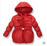 Brand new  Baby girls  warm down coat with cap kids red down  jacket outwear children  thick winter Parkas with belt