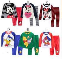 Free Shipping pure cotton boy and girl's pajamas suit,Long sleeve children's cartoon pattern nightwear,cute leisure wear retails