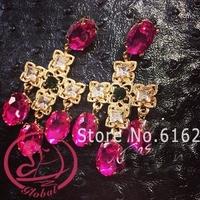 brincos grandes 2014 New Brand Vintage Rhinestone Cross Long earrings for women Crystal Big Dangle Earring Drop Gold Earrings