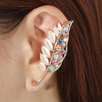 SE561 18K Gold plated Filled High-end fashion Hollow out Colourful leaves cuff earrings for woman Jewelry