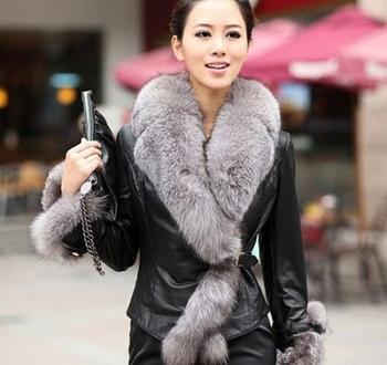2014 зима новые продукты женская лиса верхняя одежда из кожи куртки Большой размер ...
