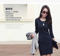 2014 Hitz Korean temperament fashion round neck long-sleeved dress  big yards bottoming Slim was thin dress