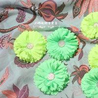 Chiffon dimensional flower fluorescent color gerbera daisy hydrangea flower head ornaments handmade diy fabric rosettes