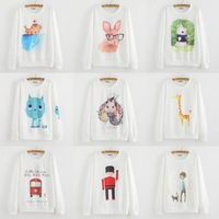 2015 NEW Style Printed Cat Heart Sweatshirt Women Hoody Casual Pullovers Moleton Feminino Sudaderas