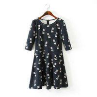 2014 Fall New Cute Women Audio Printed Above Knee Three Quarter Sleeves Cotton Blends Dress with Zipper on Back 5004314104