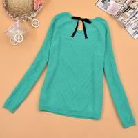 Box autumn new arrival 2013 women's 100% cotton slim o-neck  sweater female sweater 303