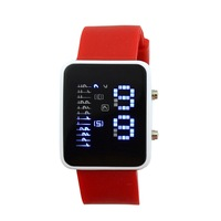 12 Colors Womens Mesn Blue LED Digital Lamp Binary Watches Lady Male Silicone Straps Electronic  Casual Watch Clock Wristwatches